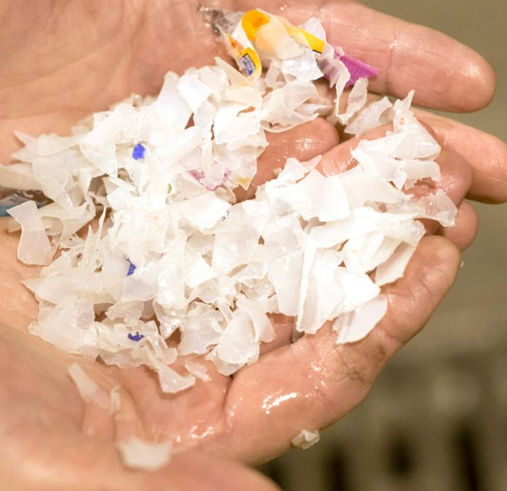 Plastic flakes recovered from at-risk area
